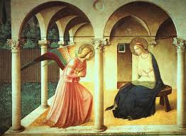 The Annunciation, shwoing St Gabriel announcing to Mary the good news.