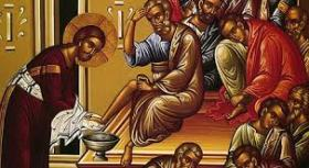 Our Lord, Jesus Christ washing the feet of his apostles.